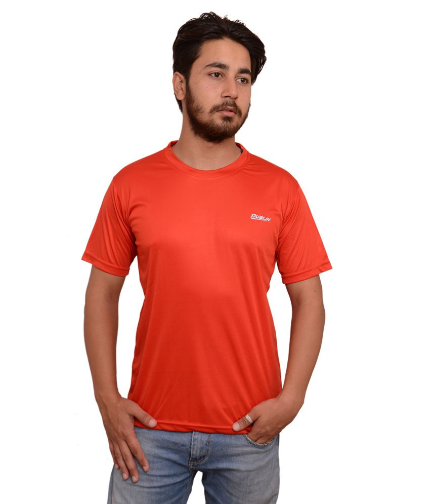 Dublin Red Polyester Gym And Fitness T-shirt For Men