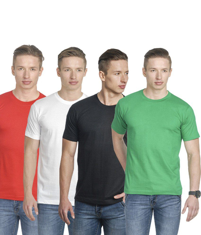 Fundoo-T Multicolour Cotton Round T Shirt Pack Of 4