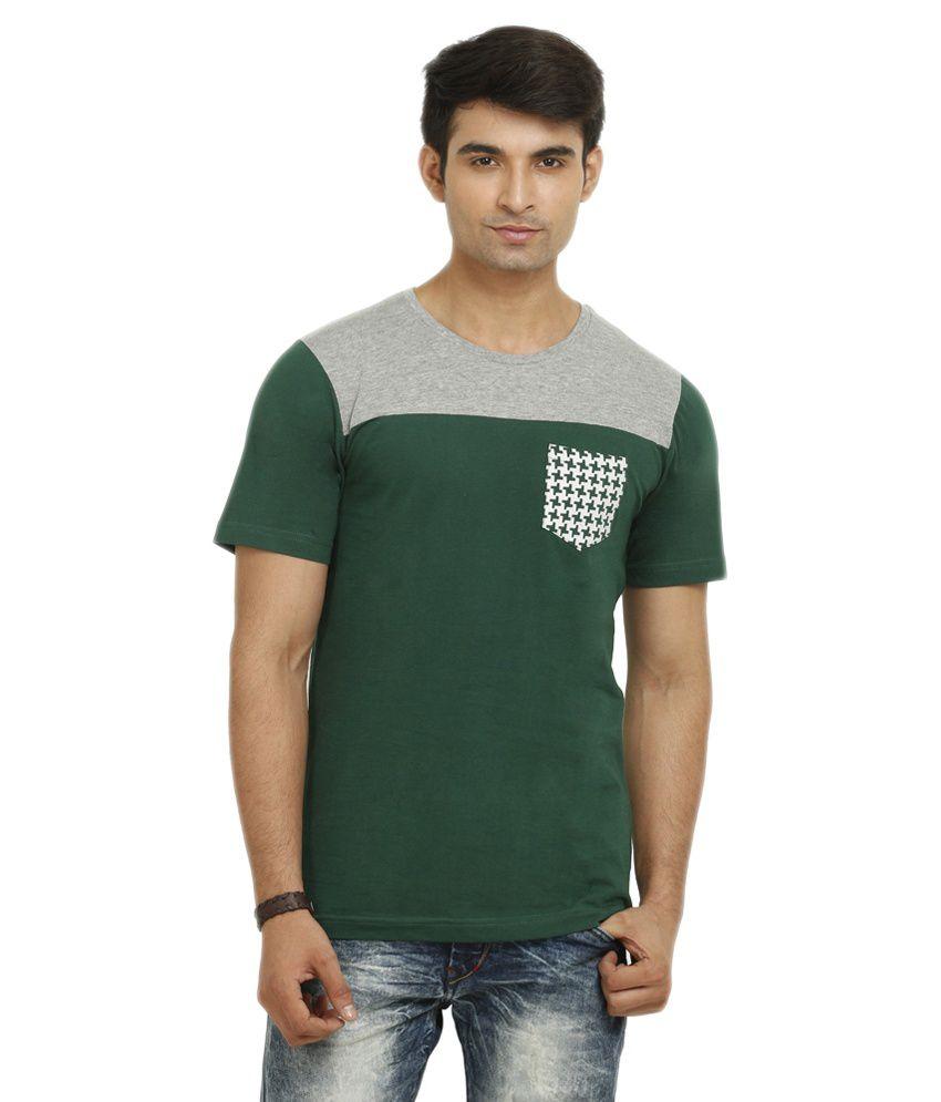 GANZM Men Cotton Round Neck Green T-Shirt