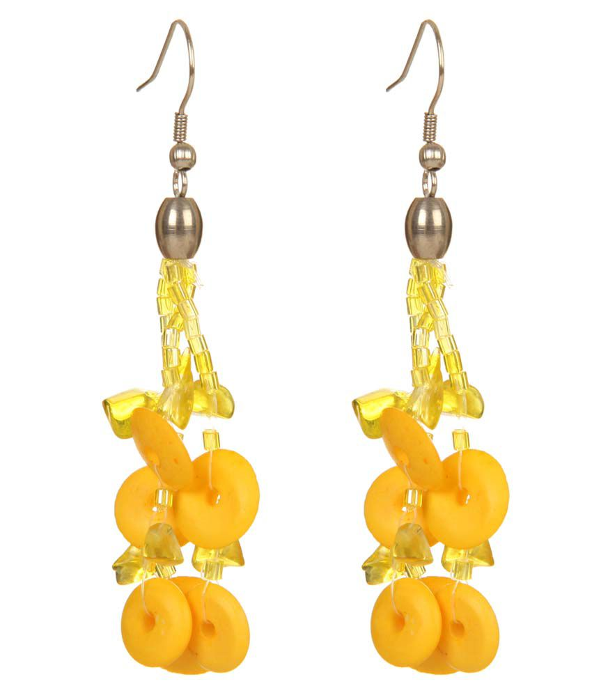 DCA Yellow Fish Hook Drop Earrings