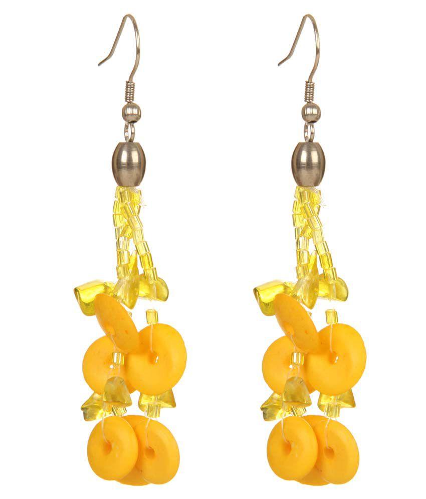 DCA Yellow Fish Hook Drop Earrings