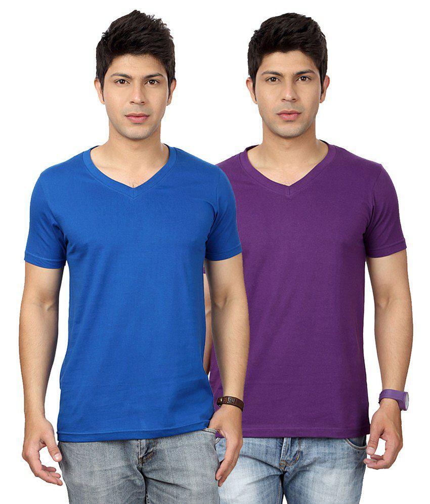 Entigue Royal Blue & Purple V-Neck T-shirt Combo (Pack of 2)