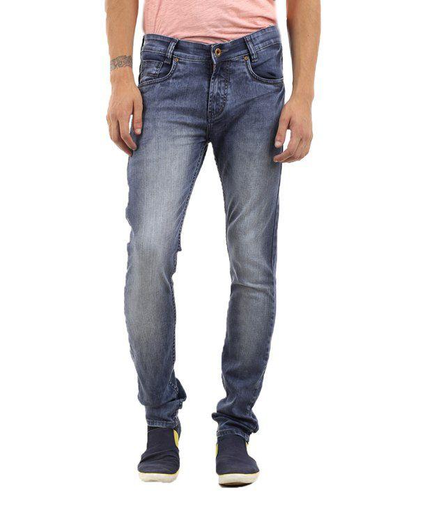 Lee Martin Blue Cotton Slim Fit Jeans