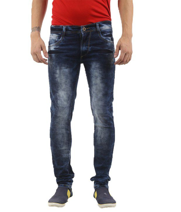 Lee Martin Blue Cotton Slim Fit Jeans