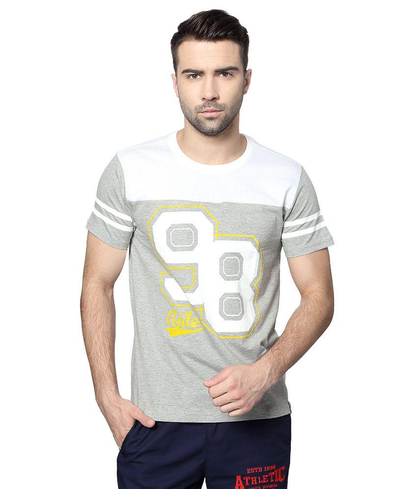 Pantaloons Grey Active Wear Printed T Shirt