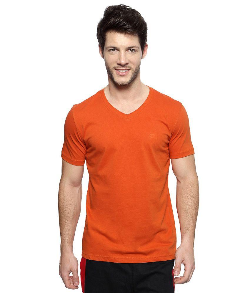 Pantaloons Orange Solid V Neck Active Wear T Shirt