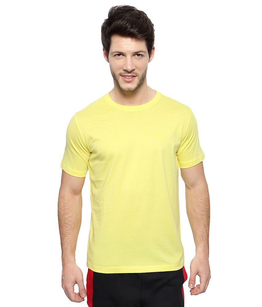 Pantaloons Yellow Solid Round Neck Active Wear T Shirt