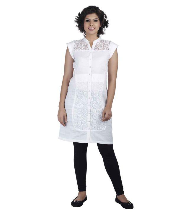 Soie White Synthetic Tunics
