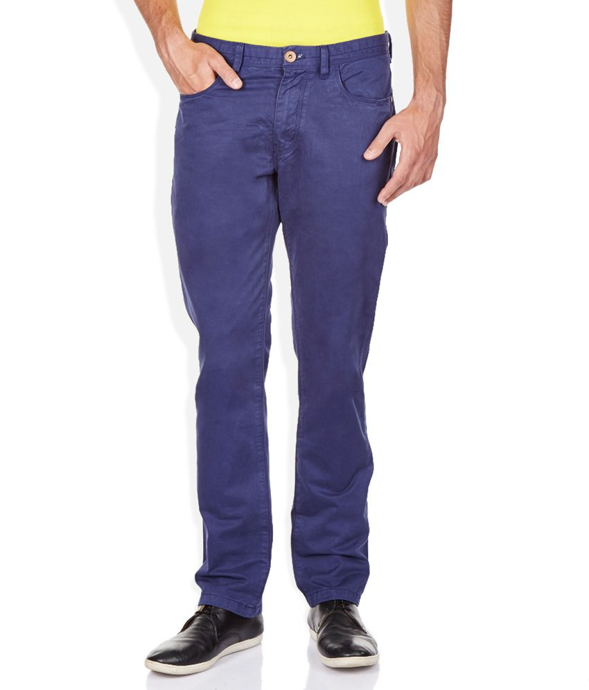 Breakbounce Blue Solid Flat Front Trousers