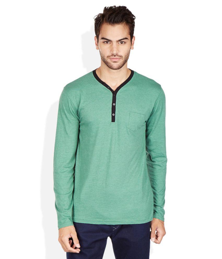 Breakbounce Green Henley Neck T Shirt