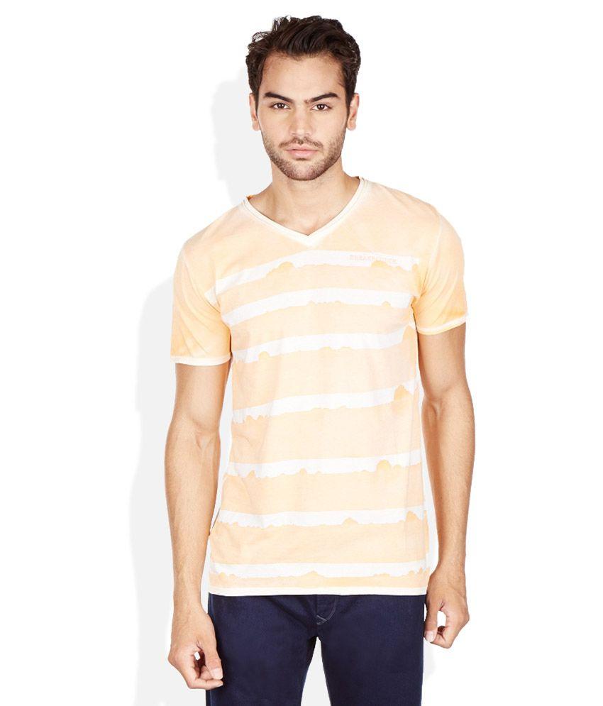 Breakbounce Orange V-Neck T Shirt