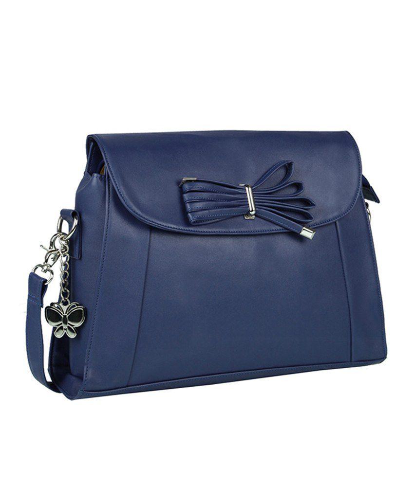 Butterflies Blue Faux Leather Sling Bag - Buy Butterflies Blue ...
