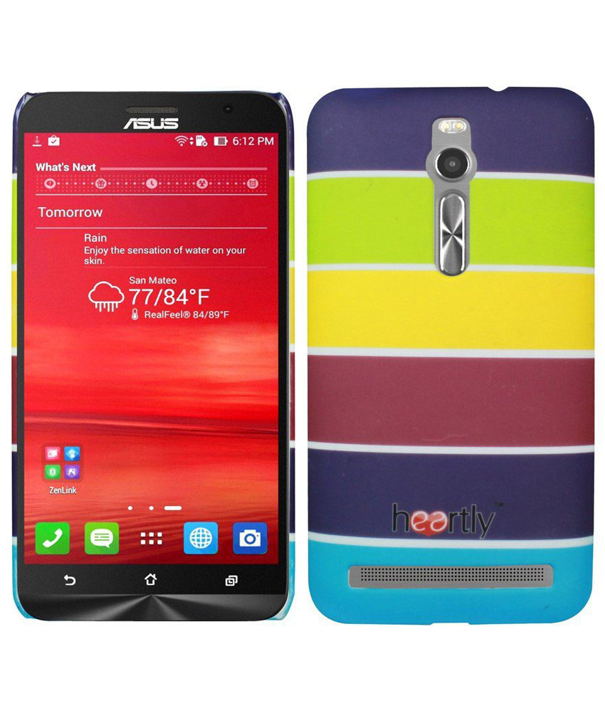 Heartly Strip Printed Back Case Cover For Asus Zenfone 2 ZE550ML ZE551ML - Yellow