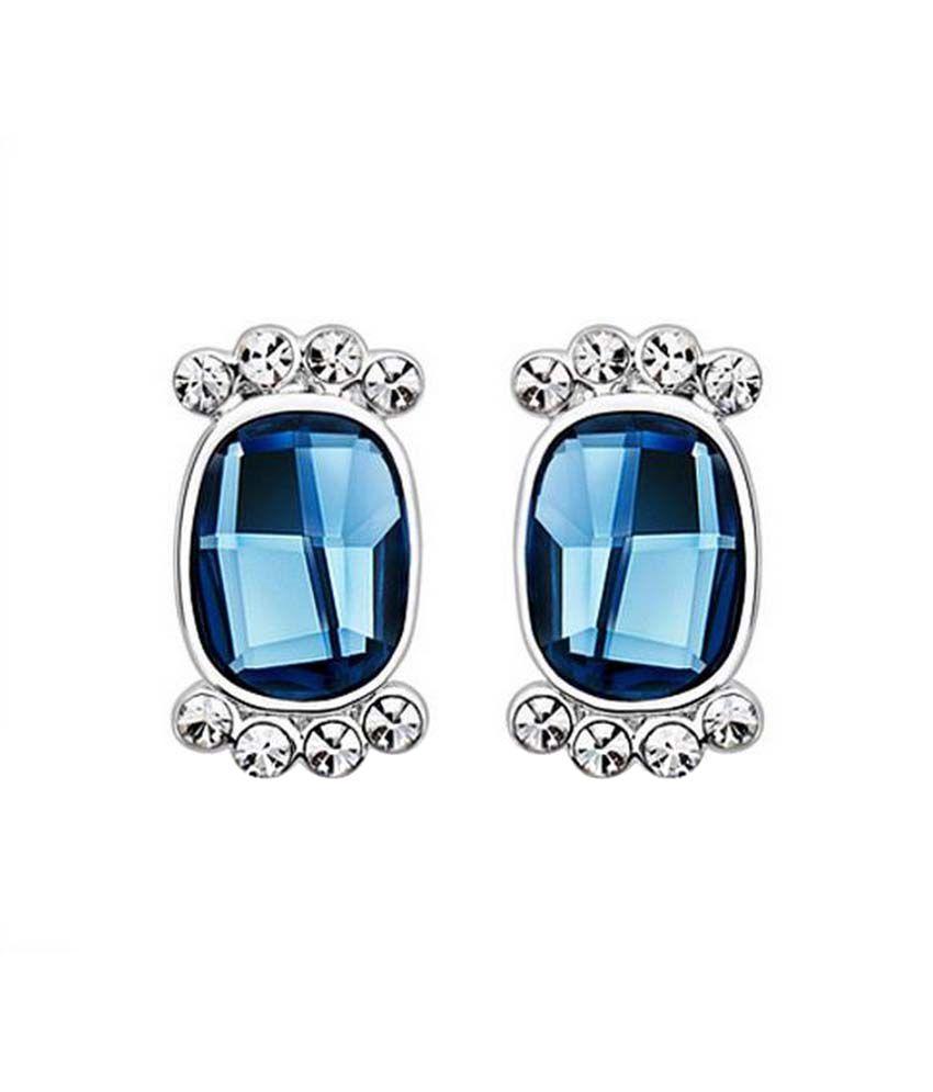 Nevi Swarovski Elements Blue Stone Designer Stud Earrings For Women