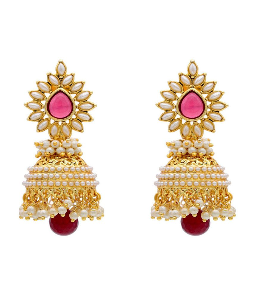 ShinningDiva Pearl Polki Pink Drop Jhumki Earrings