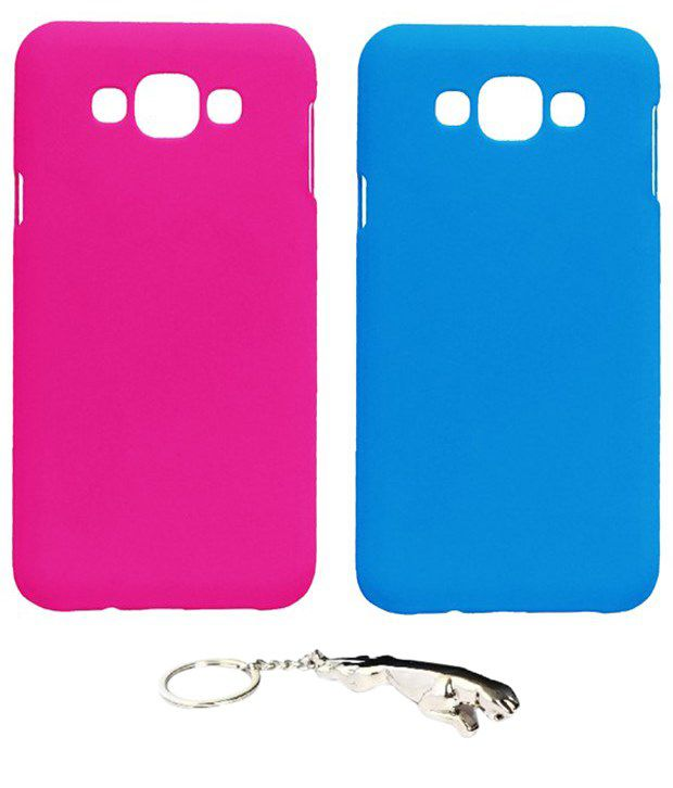 Winsome Deal Eye Catching Multicolour Combo of Keychain & 2 Samsung Galaxy E7 Back Covers