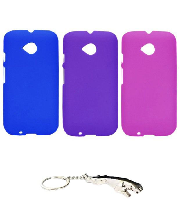 Winsome Deal Multicolour Combo of Keychain & 3 Motorola E2 Back Covers