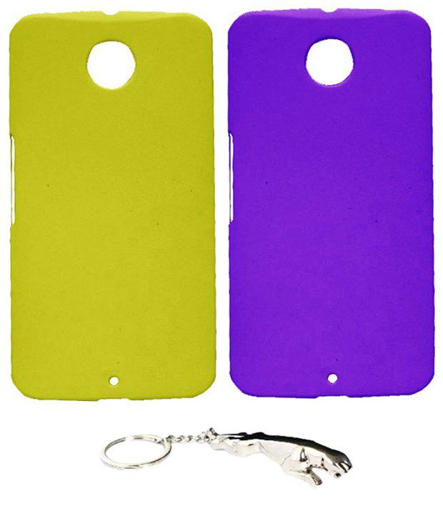 Winsome Deal Multicolour Combo of Keychain & 2 Motorola Google Nexus 6 Back Covers