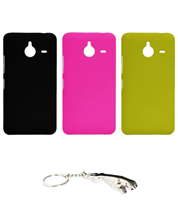 Winsome Deal Stunning Multicolour Combo of Keychain & 3 Nokia Lumia 640 XL Back Covers