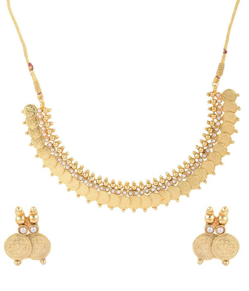 Star 'N' Galaxy Golden Led Free Alloy Polki Traditional Necklace Set