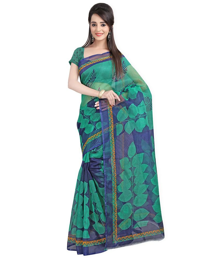 Lookslady Printed Green & Dark Blue Supernet Saree With Blouse Piece