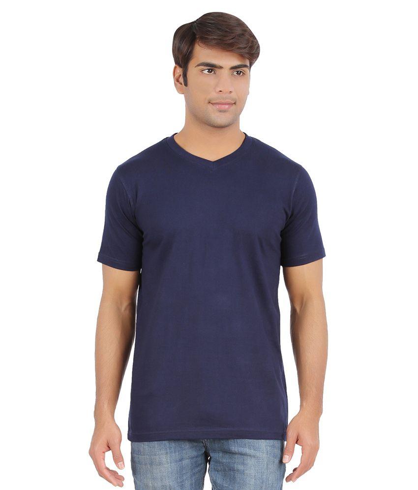 Ap'pulse Navy Cotton Half Sleeves V-Neck