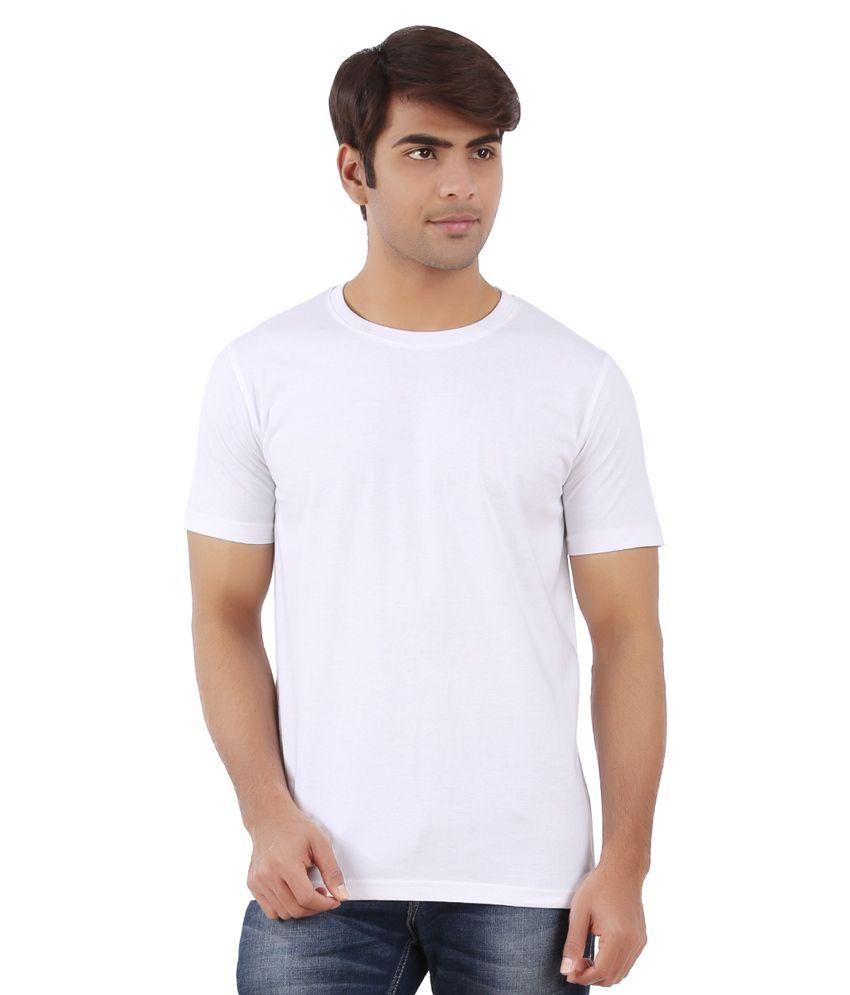 Ap'pulse White Cotton Half Sleeves Round Neck