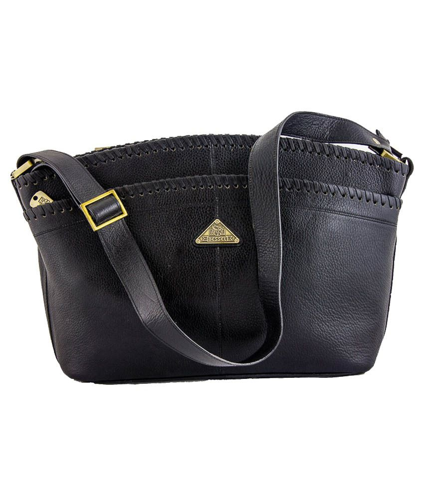 f5c476f16b8 Bessel Black Leather Shoulder Bag - Buy Bessel Black Leather Shoulder Bag  Online at Best Prices in India on Snapdeal