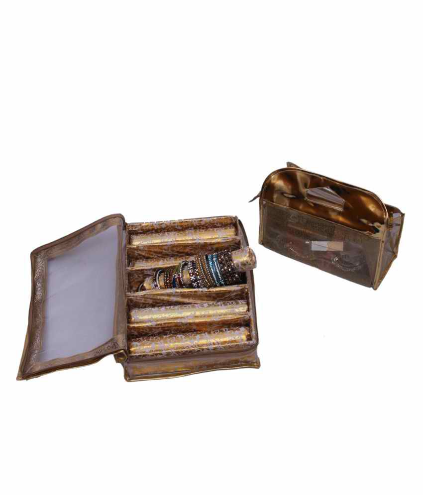 Kuber Industries Bangle Five Roll & Vanity Box