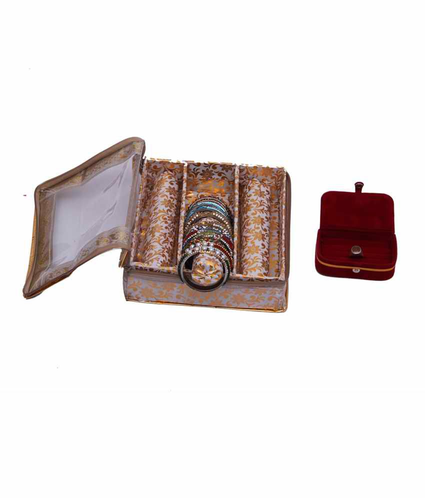 Kuber Industries Bangle Three Roll & Ring Box