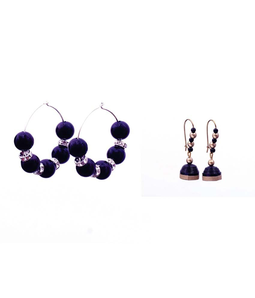 Rivory Bros Black and Golden Daily Wear Earrings