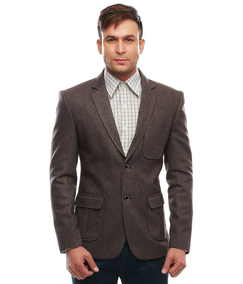 Jogur Brown Cotton Blend Formal Blazer