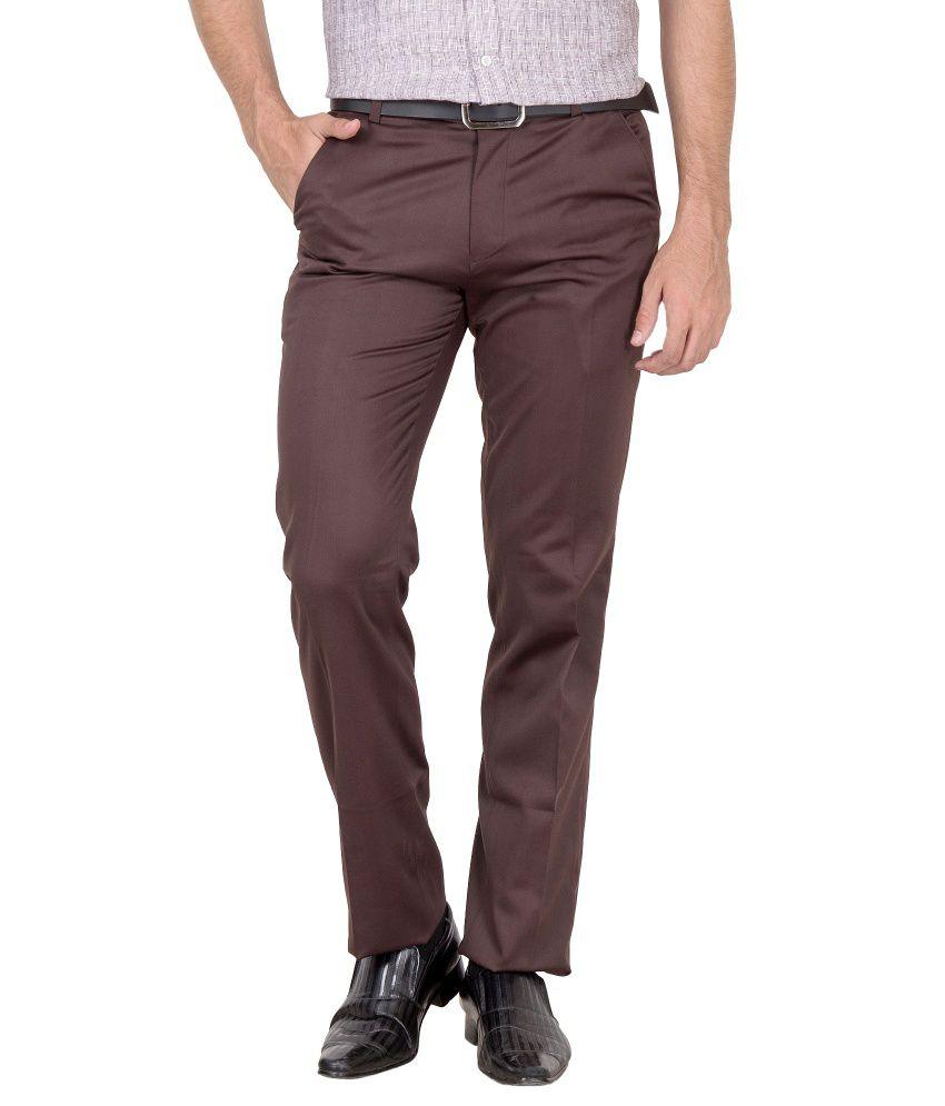 Jogur Brown Cotton Blend Trousers