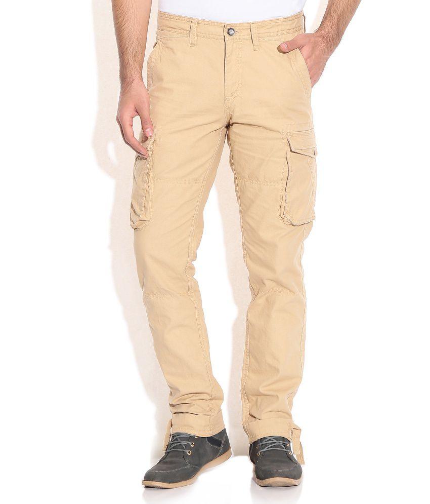 Celio Beige Regular Cargo Trousers