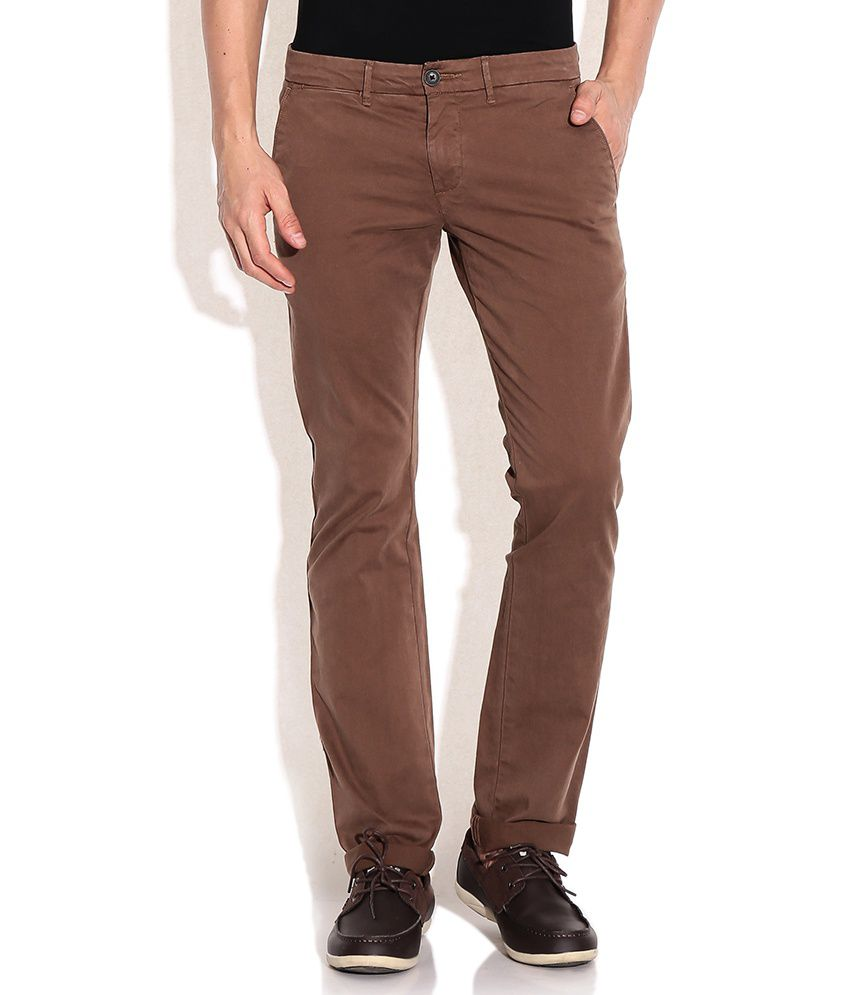 Celio Brown Cotton Straight Fit Chino Trousers