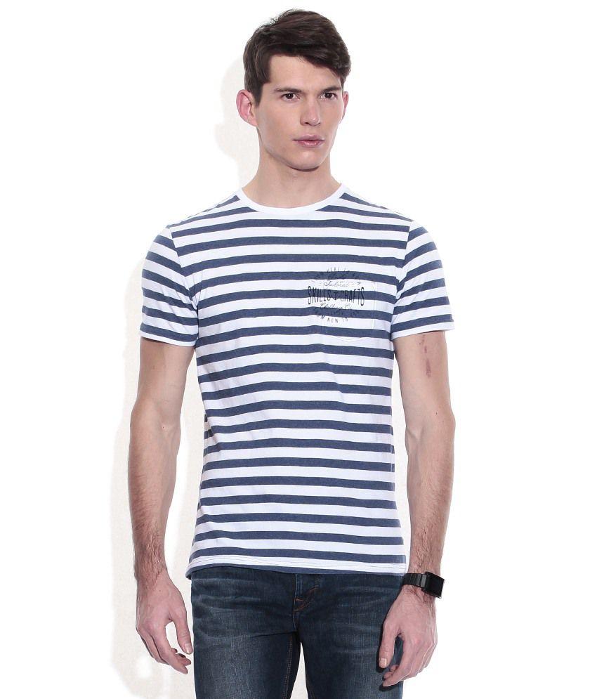 Celio Navy Cotton Round Neck T-shirt