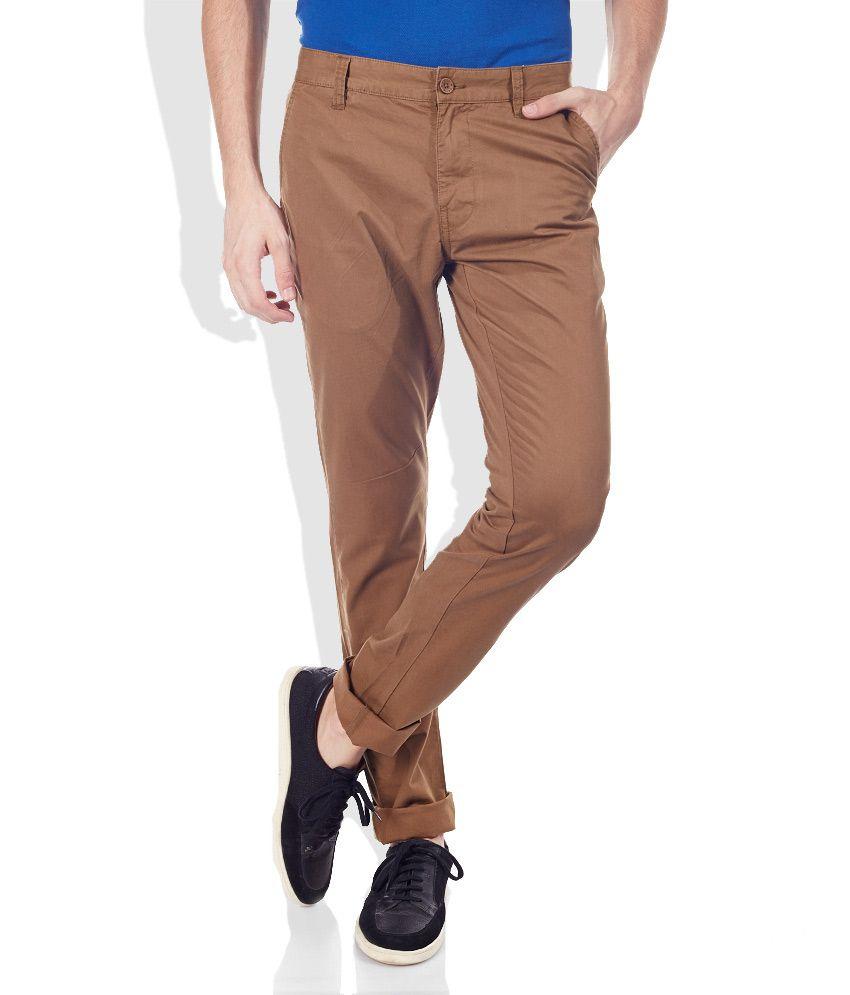 Celio Tan Slim Fit Trousers