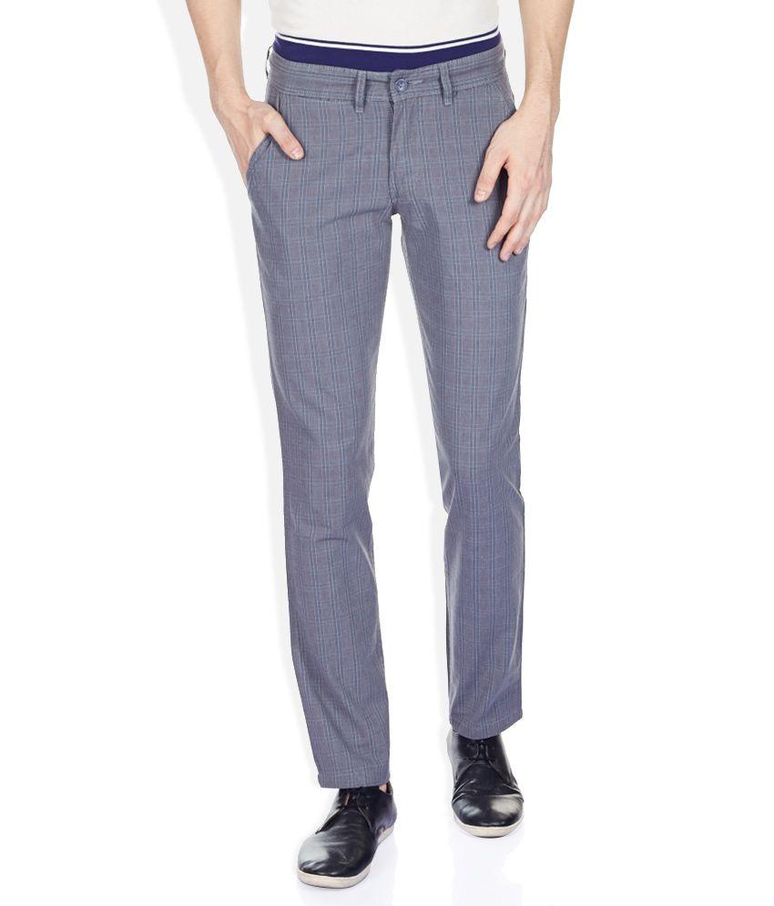 John Players Gray Slim Fit Trousers