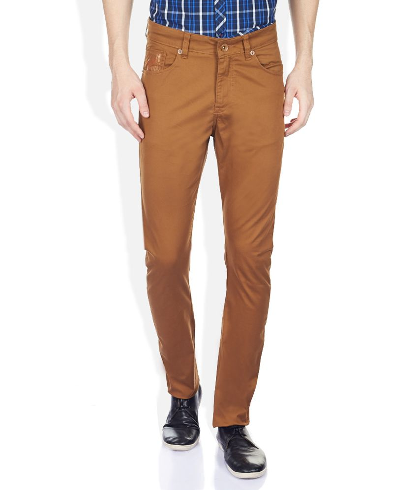 John Players Tan Slim Fit Trousers