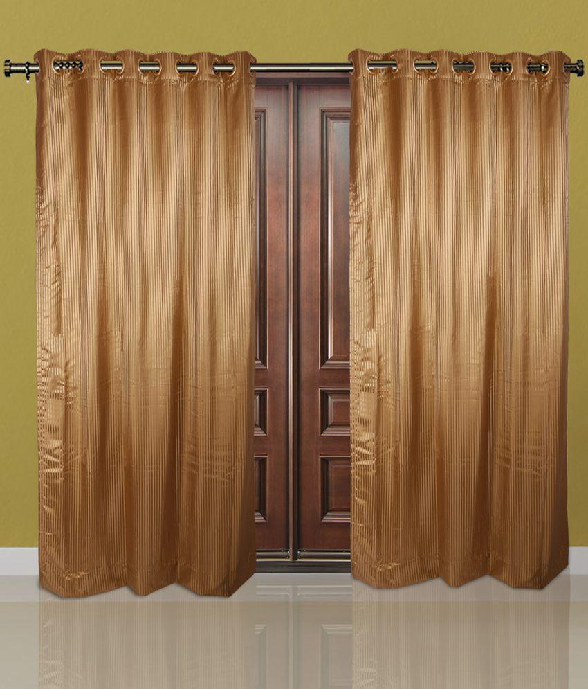Just Linen Brown Polyester Door Curtain