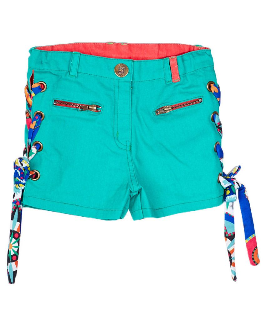 Little Kangaroos Green Cotton Blend Shorts