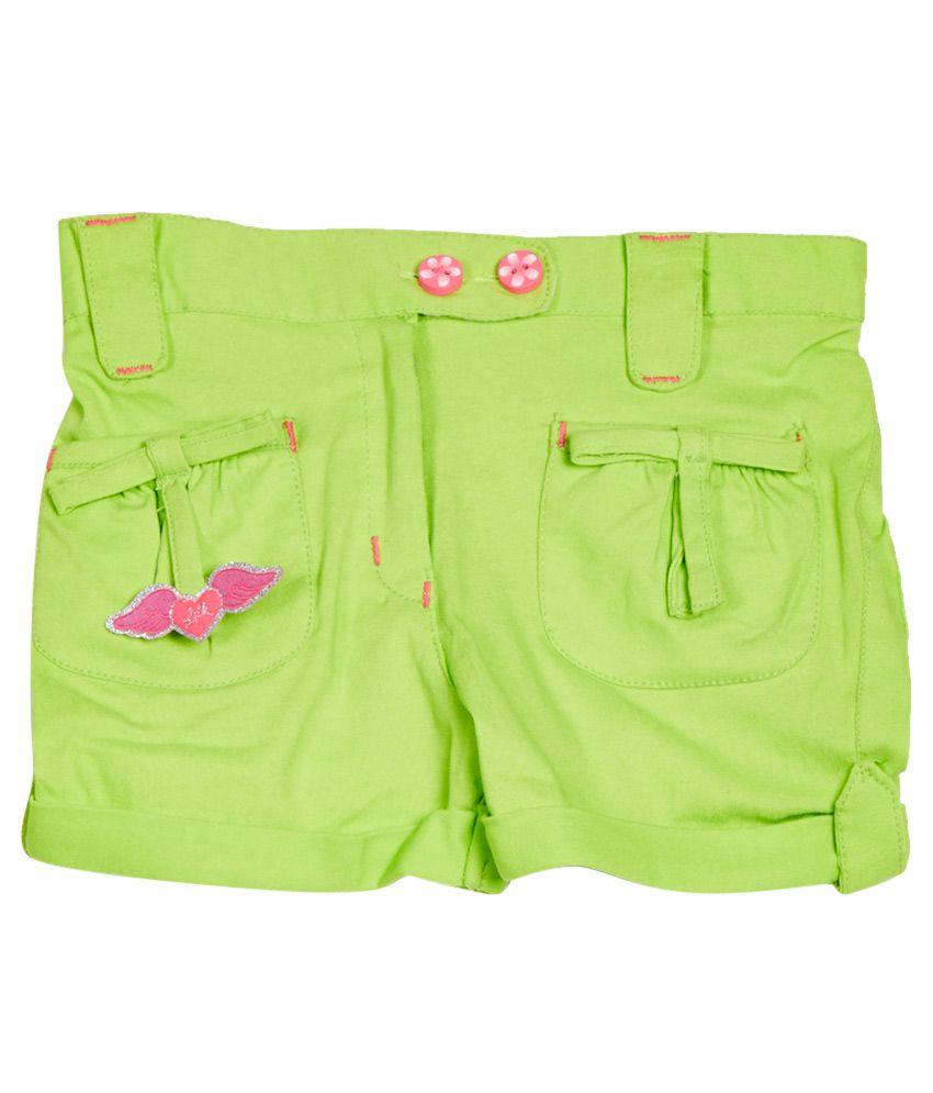 Little Kangaroos Green Cotton Blend Shorts