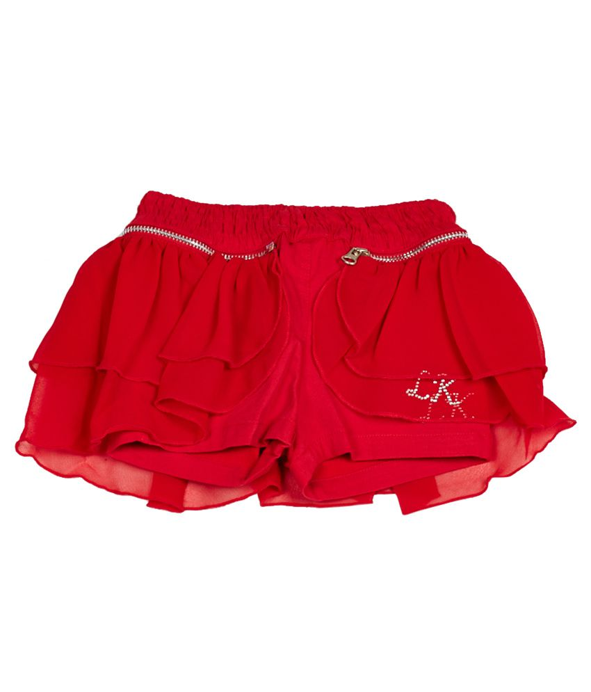 Little Kangaroos Red Cotton Blend Shorts