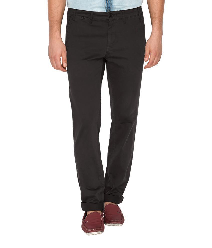 Mufti Black Slim Flat Trousers Trouser