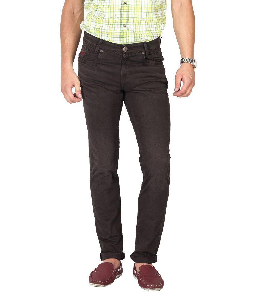 Mufti Brown Slim Fit Jeans