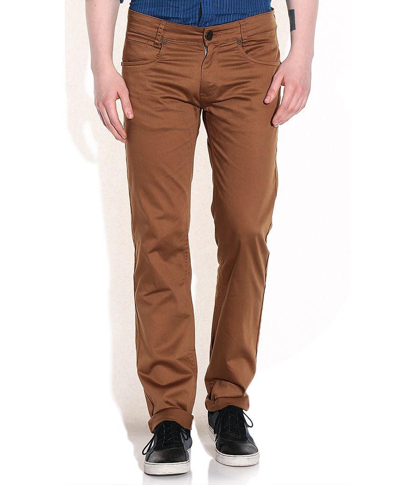 Mufti Khaki Tapered Fit Jeans