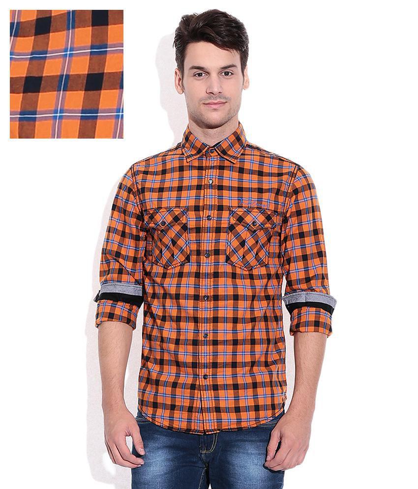 92c14f7bb9b Mufti Orange Checkered Shirt - Buy Mufti Orange Checkered Shirt Online at Best  Prices in India on Snapdeal