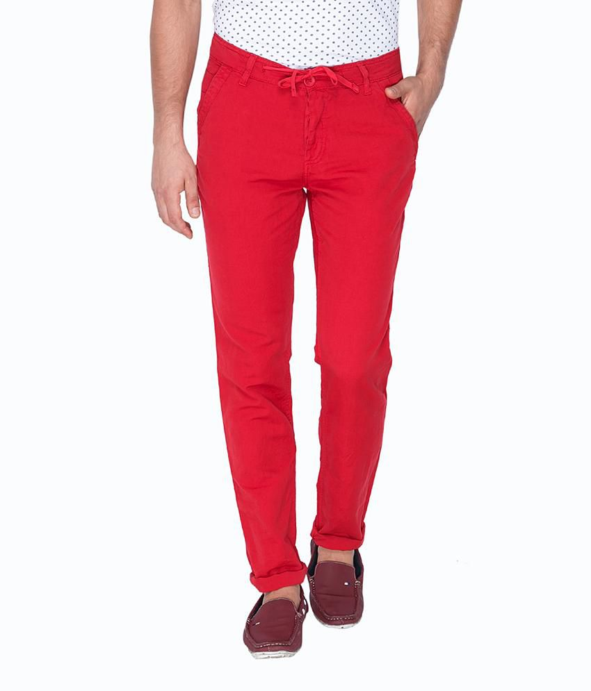 Mufti Red Regular Flat Trouser