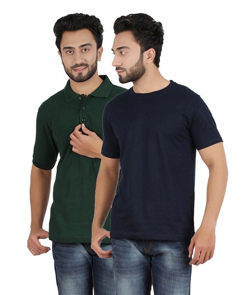 Pulse Navy & Dark Green Cotton Men's T-Shirt (Pack of 2)