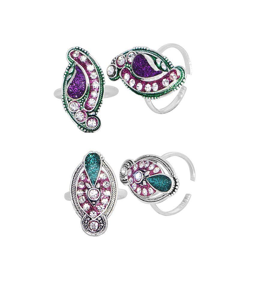 R S Jewels German Silver Multi Color Enamel Toe Ring - Combo Of 2